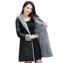 Autumn Winter Sheepskin Leather Coat Women 2019 Fashion Slim Warm Soft Fur Jacket Hooded Long Coats Plus Sizes 5XL 6XL