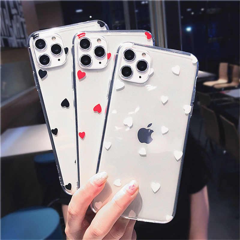 Kowkaka Dễ Thương Claer Trái Tim Tình Yêu Cho iPhone 12 Mini 11 Pro Max 6 6S 7 8 Plus X XR XS Max SE 2020 Hoạt Hình Sóng Điểm Mềm Mại Capa