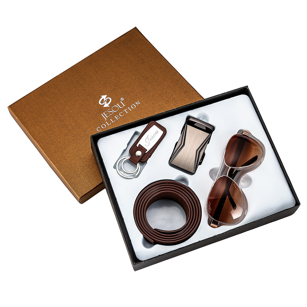 Fashion Luxury Business Men's Gift Box Brown Sunglasses Wallet  Belt Watches Leather Christmas New Year Gift Set Box Present