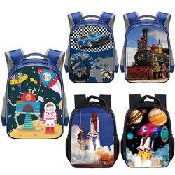 Rakieta z kreskówek lokomotywa plecak samochodowy dzieci torby szkolne dla chłopców dziewcząt pociąg parowy statek kosmiczny przedszkole torba plecak dziecięcy