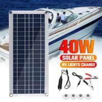 40W Solar Panel 12V 5V USB Portable Monocrystalline Silicon Solar Panel Cells for Car Yacht RV Charging Outdoor Emergency Lights