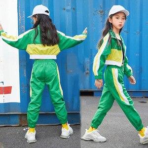 Image 3 - Groene Jazz Dans Kostuums Kinderen Hiphop Street Dance Praktijk Slijtage Kind Stage Performance Rave Outfit Casual Kleding DF1631