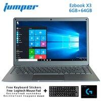 점퍼 Ezbook X3 13.3 인치 Ips 스크린 노트북 인텔 N3350 6 기가 바이트 64 기가 바이트 Emmc 2.4G/5G 와이파이 노트북 M.2 Sata Ssd 노트북 노트북