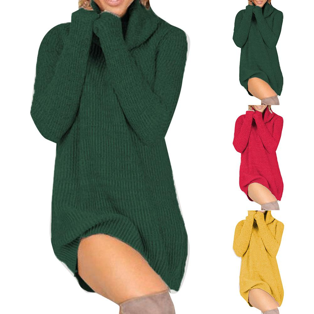 Forefair Turtleneck Long Sleeve Sweater Dress Women Autumn Winter Loose Tunic Knitted Casual Red Clothes Solid Dresses
