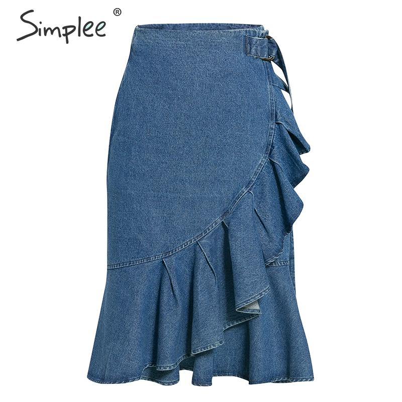 Simplee Asymmetrical Ruffled Women Jeans Skirt Elegant High Waist Belt Mermaid Fishtail Skirts Autumn Ladies Party Midi Skirt