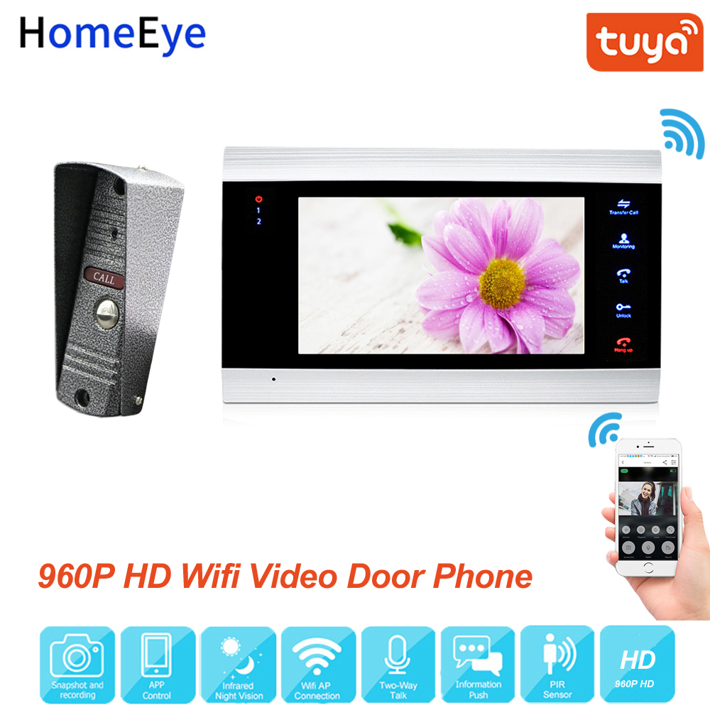 HomeEye WiFi IP Video Door Phone Video Intercom System 960P Tuya Smart Life App Remote Unlock Motion Detection Access Control