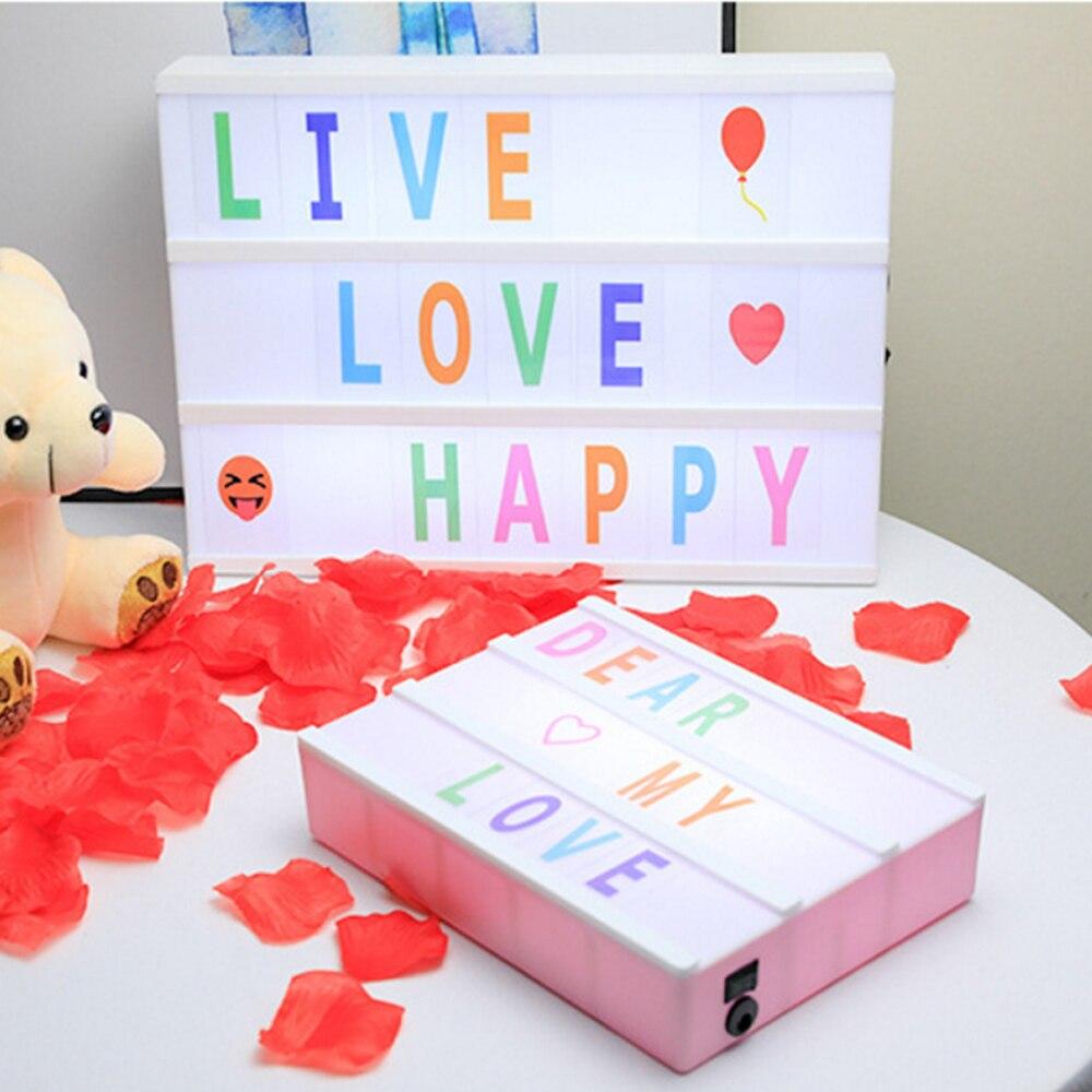 A4 A5 A6 taille LED combinaison veilleuse boîte lampe bricolage noir/coloré lettres cartes USB AA batterie cinéma Lightbox blanc rose 4