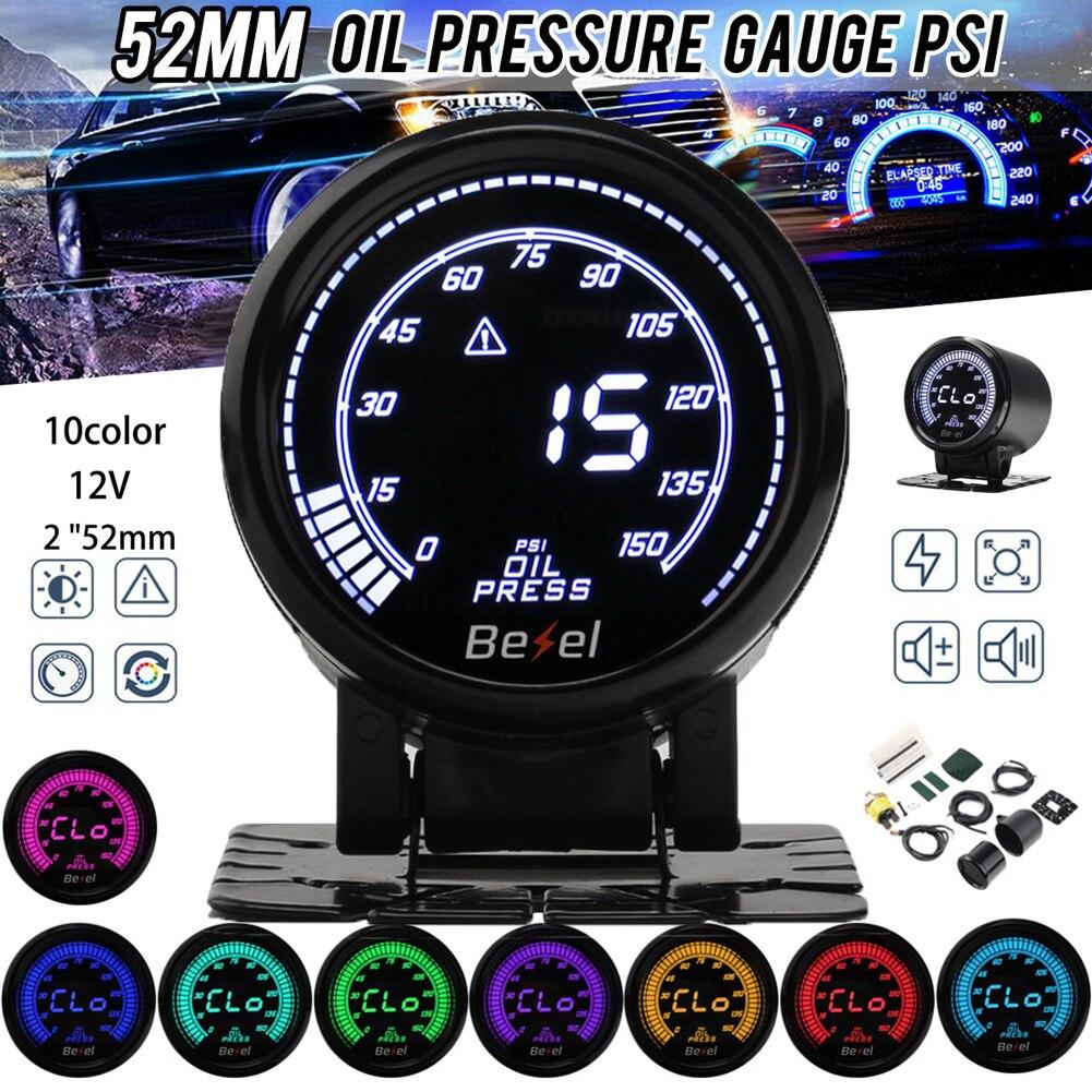 2 ''52 мм Автомобильный турбонаддув, автоматический датчик температуры воды, датчик давления масла, цифровой и указательный 10 цветов, светоди...