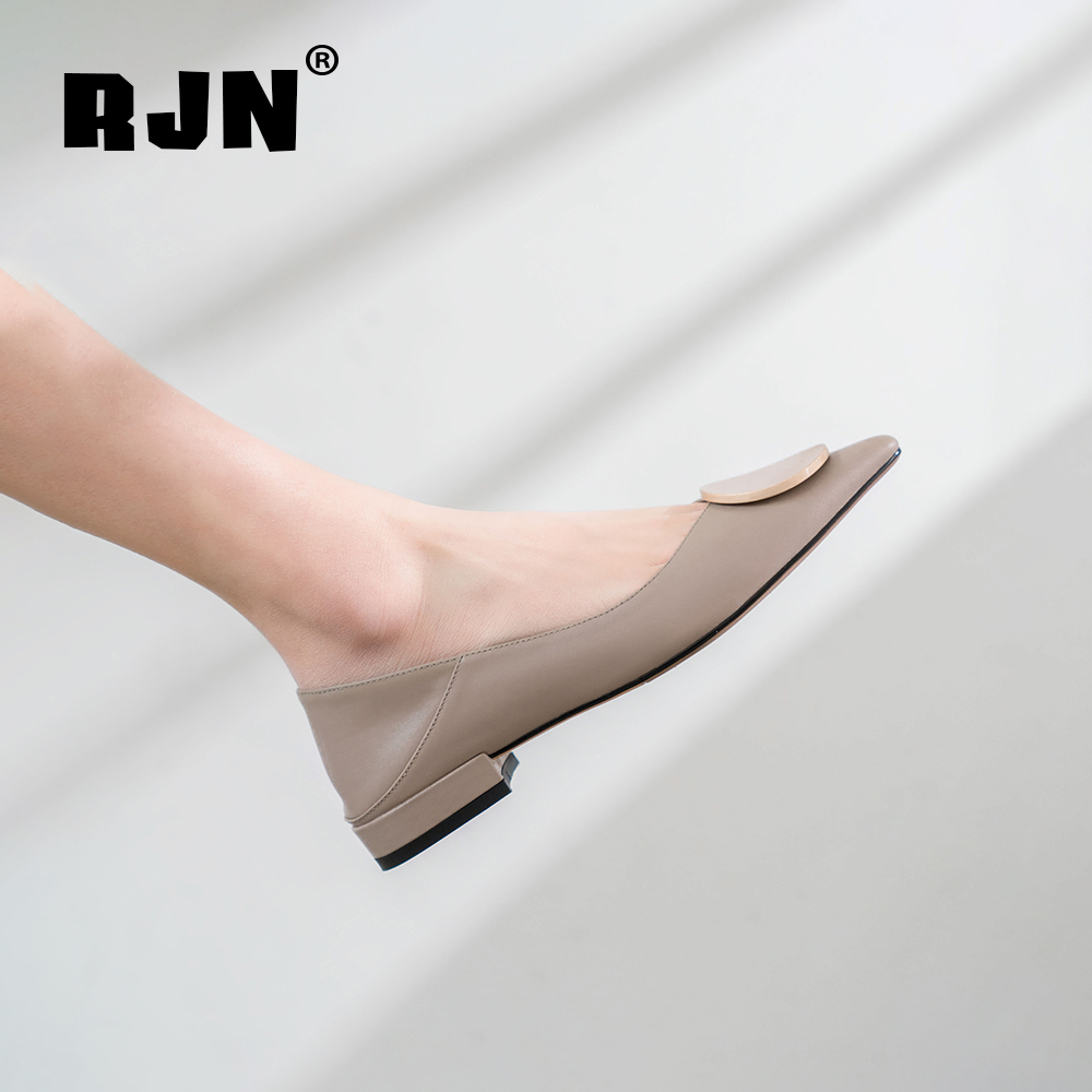 Buy RJN Sexy Pointed Toe Women Pumps Stylish Matel Decoration High Quality Genuine Leather Handmade Slip-On Shoes Shallow Pumps RO70
