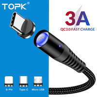 TOPK 5A Magnetic USB Cable Fast Charging USB Type C Cable Magnet Charger Data Charge Micro USB Cable For iPhone X Samsung Xiaomi