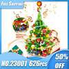 Children Assembling Building Blocks Christmas Tree Electric Rotary Music Lamp DIY Building Puzzle Brick Kids Christmas Gifts