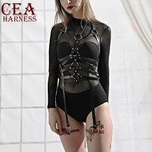 CEA Leather Harness Women Trendy Sexy Body Belts Harajuku Slim  Punk Gothic Adult Party Night Club Top Bondage Garter Chest Belt