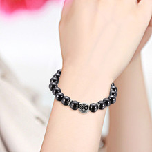 NJ Owl Nature Lodestone Men Black Beaded Bracelet Hot Sale Magnetic Charm Strand Jewelry For Woman Handmade Accessories Gift