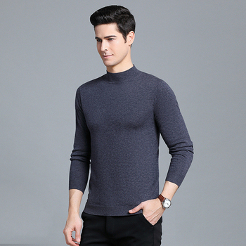 Anti-pilling 100% Wool Sweater Men Winter Thicken Pullover Sweater Casual Comfortable Crew Neck Regular Fit Ribbed Man Clothes
