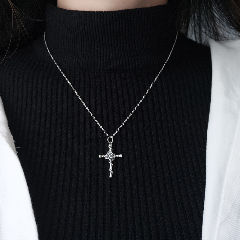 H1b713f583a52434281b83031eedda40dc - Vintage Do Old Rose Cross Pendant Necklace S925 Sterling Silver Personality Trend Female Collarbone Chain