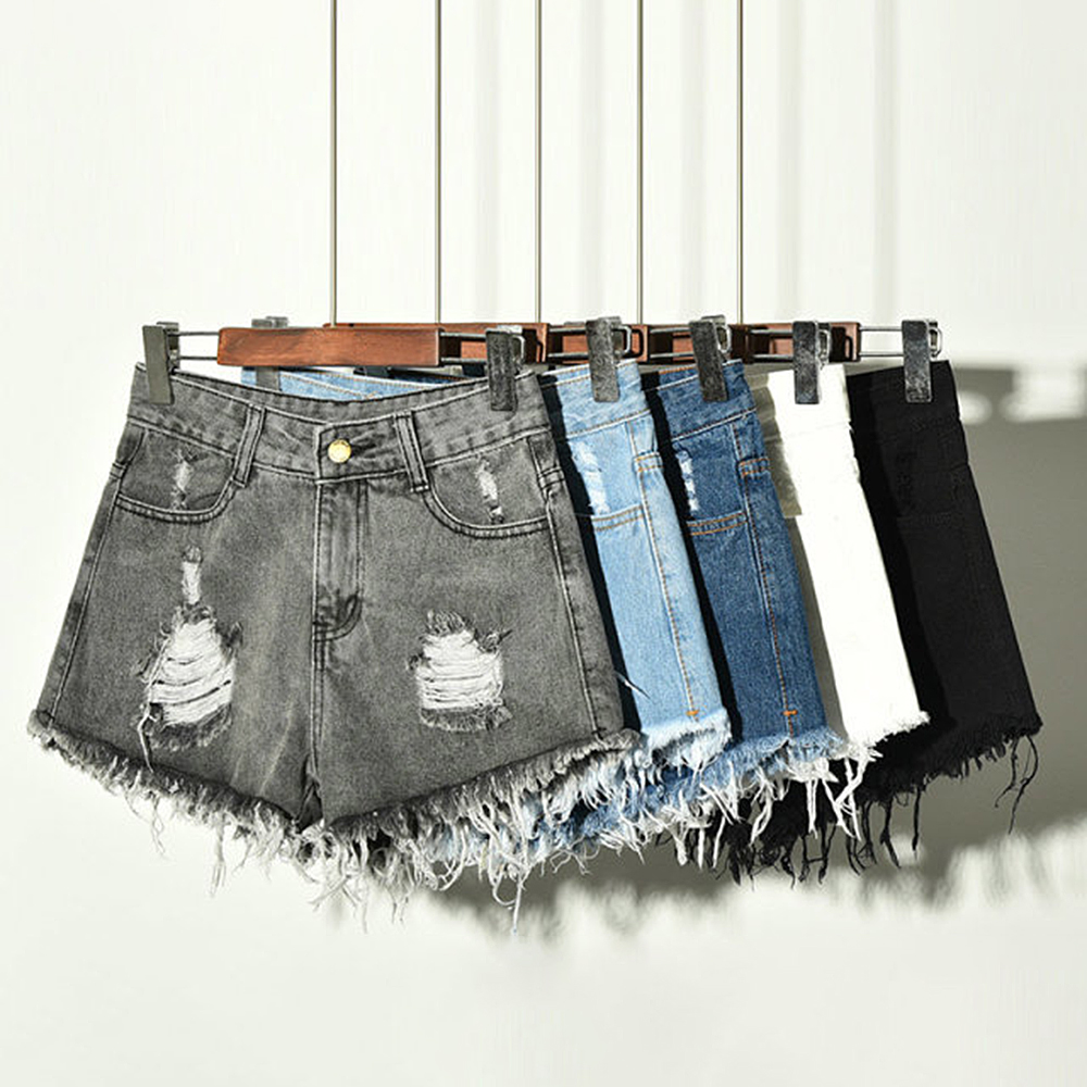 Summer Women's Denim Shorts Hole High Waist Wide Leg Tassel Female Casual Large Size Shorts For Women Hotpants Slim Ripped Hole