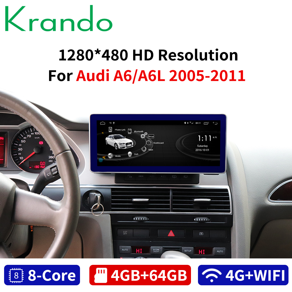 Krando <font><b>Android</b></font> 8.1 8-Core 4+64G Car radio audio GPS Navigation for <font><b>Audi</b></font> <font><b>A6</b></font> A6L 2005 2006-2011 multimedia player with 4G WIFi TB image