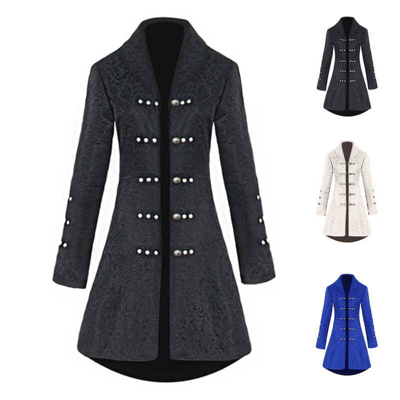 Gothic Vintage Women Steampunk Lace Trimmed Swallow Tail Long Trench Coat Jacket