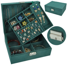 Joyero de terciopelo de doble capa, caja de almacenamiento de joyería europea, espacio grande, soporte para joyas, caja de regalo