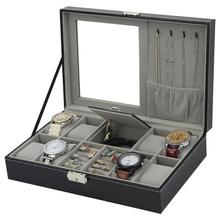 2 в одном 8 сетки+ 3 смешанные сетки хранения из искусственной кожи коробки для часов Органайзер коробка Роскошные ювелирные изделия Кольцо Витрина Чехол для часов черный