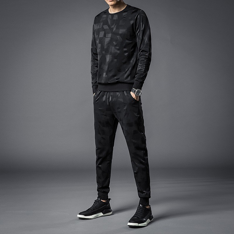 Men Casual Printing Sets O-Neck Long Sleeve Sweatshirt And Jogger Sweatpants Fashion Male Slim Two Piece Sets Streetwear Clothes