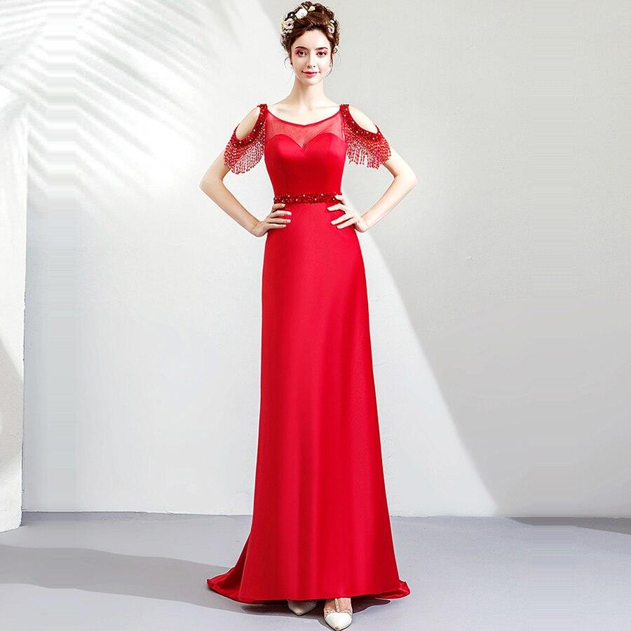 Evening     Dress   Beading Crystal   Evening     Dresses   for Women Burgundy Mermaid Formal Gown O-neck Sleeveless Robe De Soiree 2019 E159