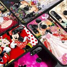 Coque en Silicone noire Mickey et Minnie, étui de téléphone pour Huawei P50 P40 P30 P20 Pro P10 P9 P8 Lite E Plus 2017 2016 5G