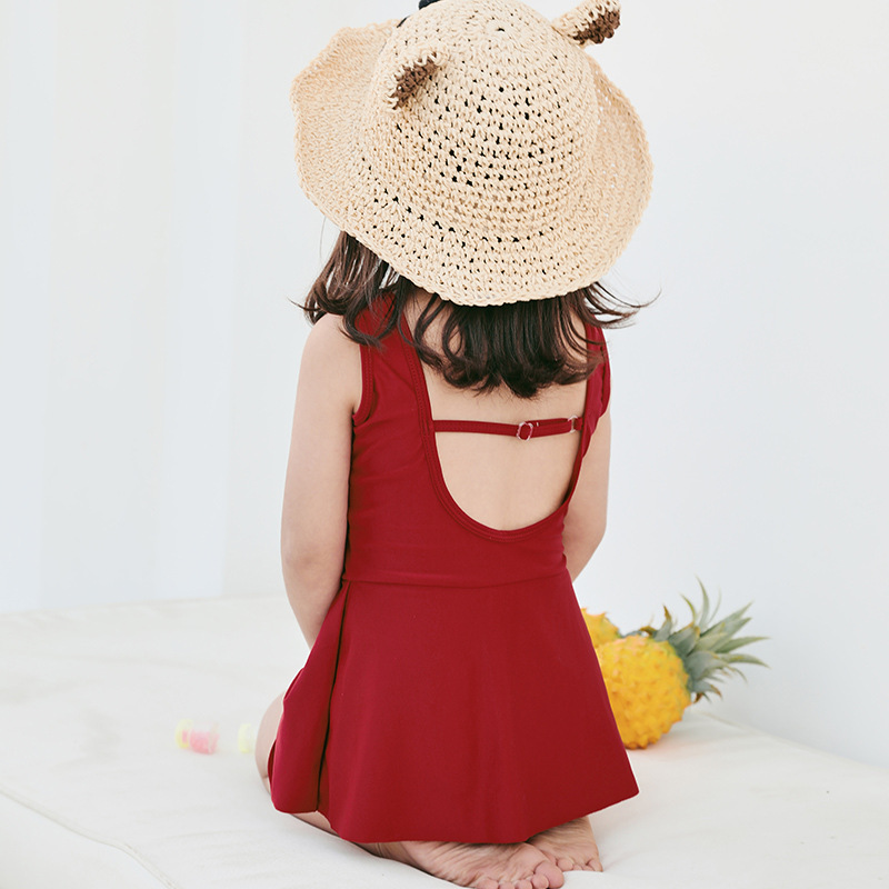 IEMOX/Iemox Korean-style Backless Children Dress-Swimsuit Girls Baby Parent-child Matching Outfit Hot Springs