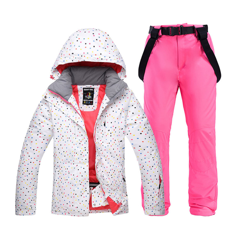 Cheap Colorful Female Snow Suit Set Womens Snowboarding Clothing Winter Outdoor Sports Waterproof Ski Jackets + Snow Belt Pants