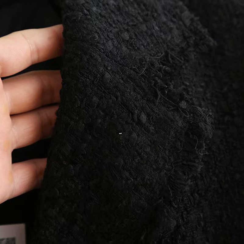 Frauen Zweireiher Elegante Schwarz Blazer Langarm Kerb Kragen Mid Länge Blazer Taste Mode Büro Chaqueta Mujer