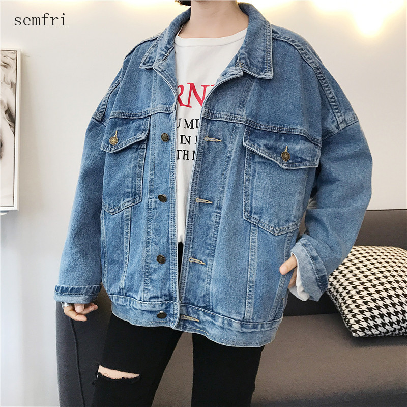 Semfri Blue Denim Jacket Women Loose Style Oversized Jeans Coat 2020 Spring Autumn New Version Casual Basic Jacket