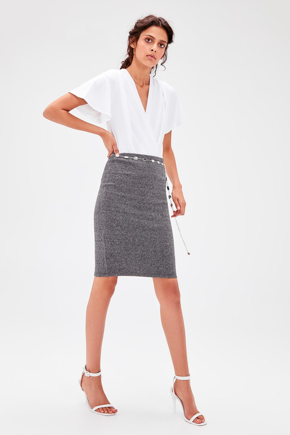 Trendyol Gray Knitted Pencil Skirt TWOAW20ET0251