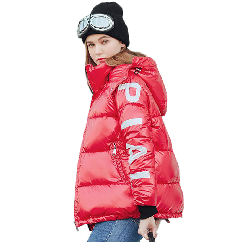 2019 Down Jacket Women Hooded Parka Short Female Outwear Warm Autumn Winter New Fashion Glossy Down Cotton Coat Woman Jackets