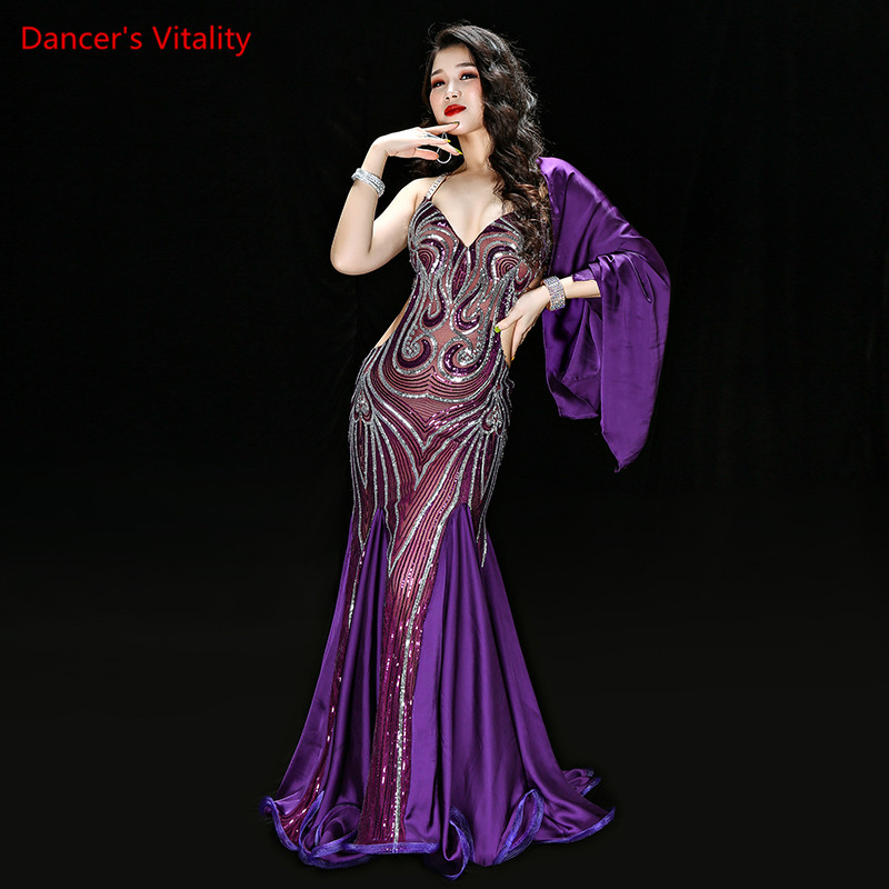 New Luxury Handmade Embroidery Belly Dance Costume Dress One Piece Women Baladi Dancing Outfit Suit Long Wing Sleeve Maxi Skirt