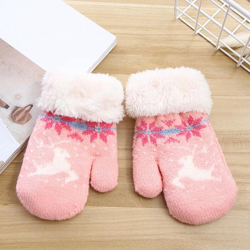 Детские зимние толстые теплые перчатки для мальчиков и девочек с милым рисунком из мультфильма, вязаные пальчики, шерстяные теплые варежки, перчатки - Цвет: GLV0446PK