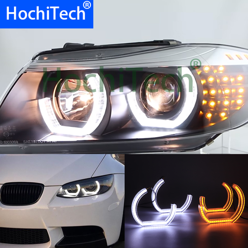 Crystal DTM M4 Style LED Angel Eye Kit with yellow turn Singal White yellow switchback For BMW 5 SERIES E60 E61 LCI M5 2007-2010