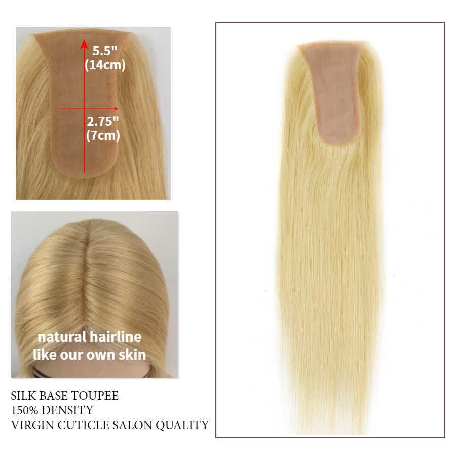 KS הפאות 14 ''14X7cm משי בסיס צילינדר נוכריות 150% צפיפות מזויף קרקפת בתולה לציפורן רמי שיער פאה לנשים 40g