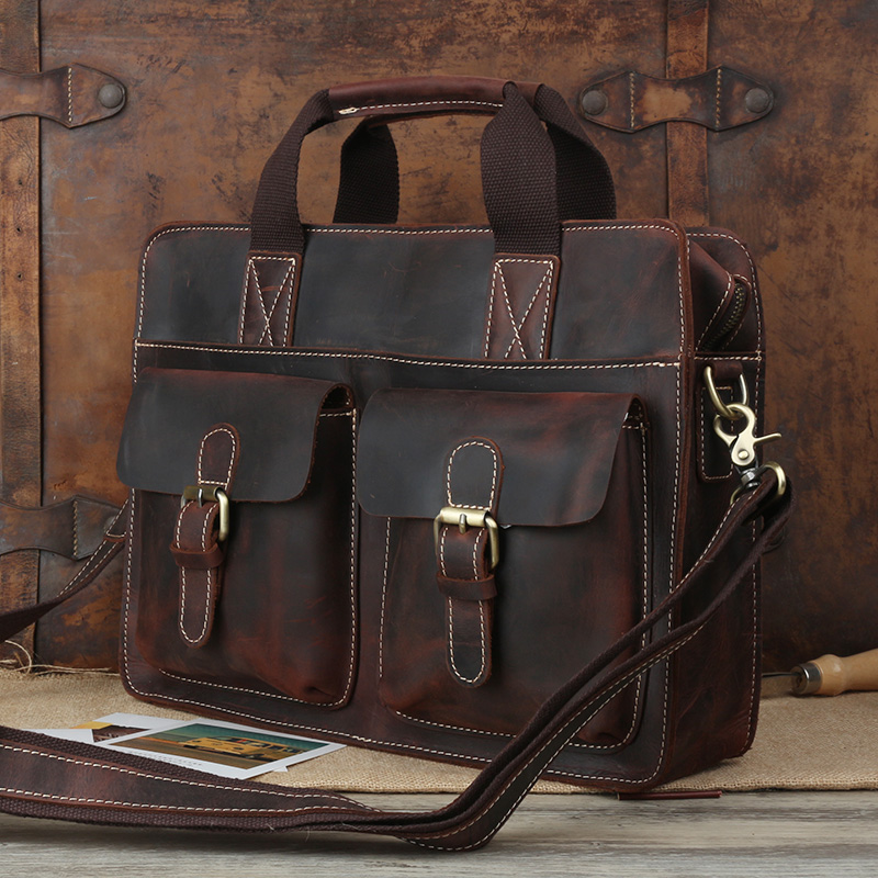 Special Offer Pure Handmade Crazy Horse Leather Vintage Briefcase 14