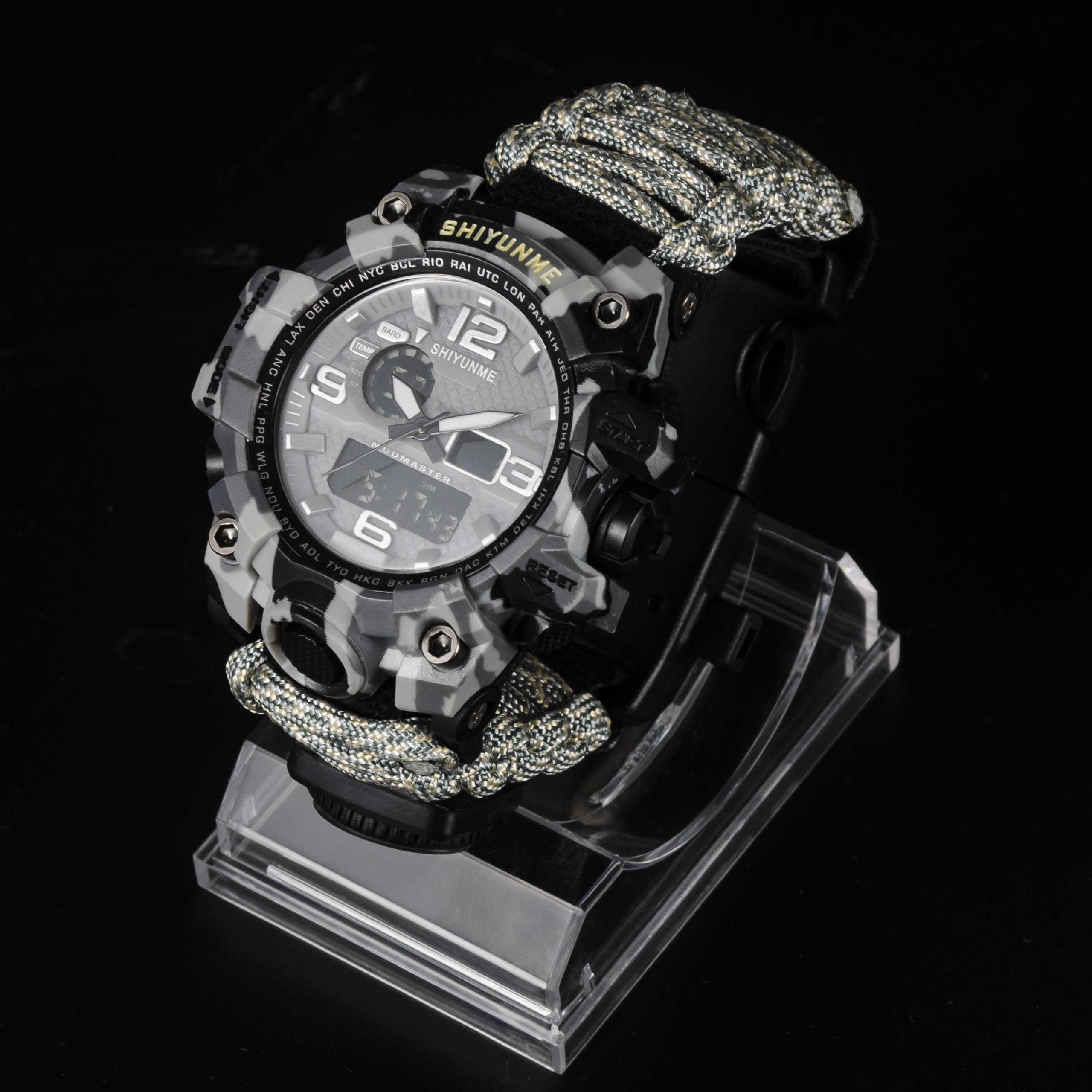 นาฬิกาเข็มทิศกีฬากลางแจ้งชายนาฬิกาทหารนาฬิกาควอตซ์ดิจิตอลเครื่องวัดอุณหภูมินาฬิกาข้อมือชายนาฬิกาจับเวลากันน้ำ Survival นาฬิกา