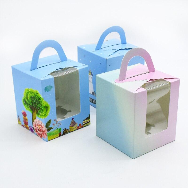 50 pièces boîte à Cupcake avec poignée de fenêtre cirque licorne fleur de noël boîte de cadeau de mariage emballage tasse gâteau Kraft boîtes d'emballage
