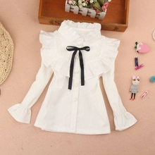 Shirt Lace Girl White Baby Kids Cotton Children New 3-12year Delivery Students