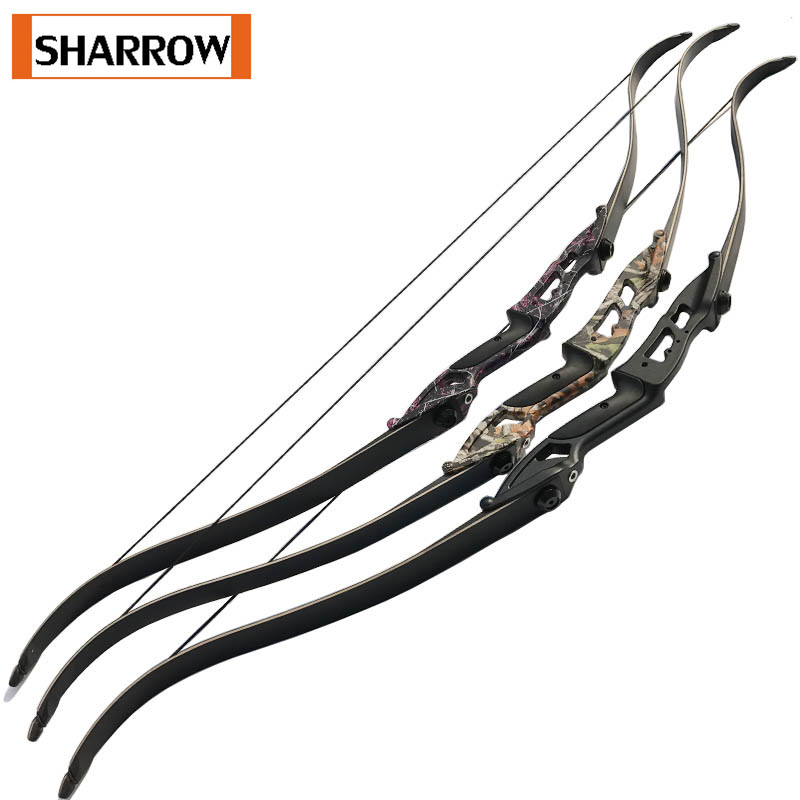 3 Colors Archery 56 Inch Camo TakedownRecurve Bow Longbow Kit Bow Arrow Rest Right Hand Outdoor Hunting Shooting