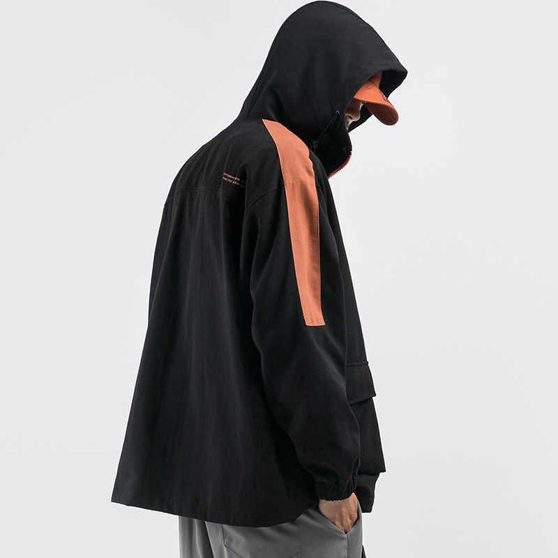 2019 Herfst Nieuwe Mode Hoge Kwaliteit Japan Stijl Kleur Patchwork Gedrukt Heren Hooded Jassen Straat Toevallige Mannelijke Safari Bovenkleding