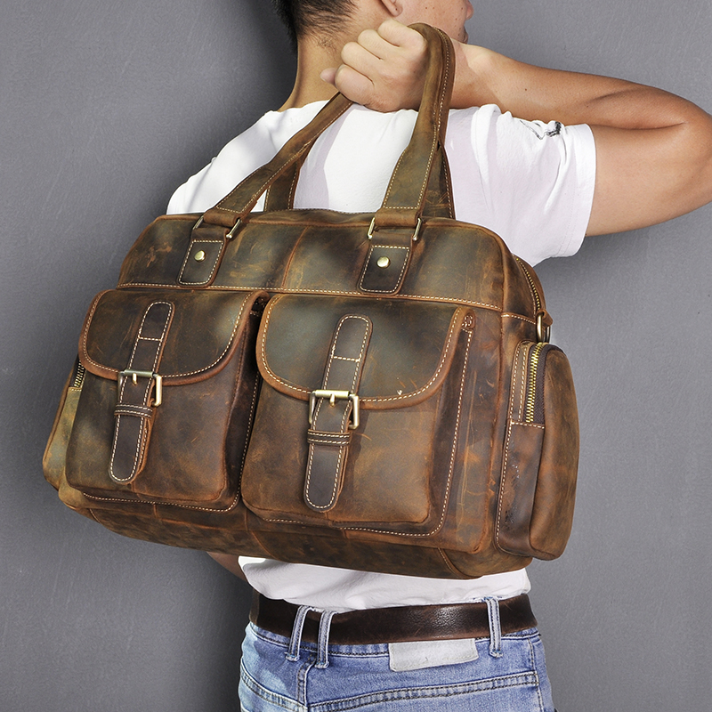 Crazy Horse Leather Fashion Business Briefcase Messenger Bag Male Design Travel Laptop Document Case Tote Portfolio Bag 061