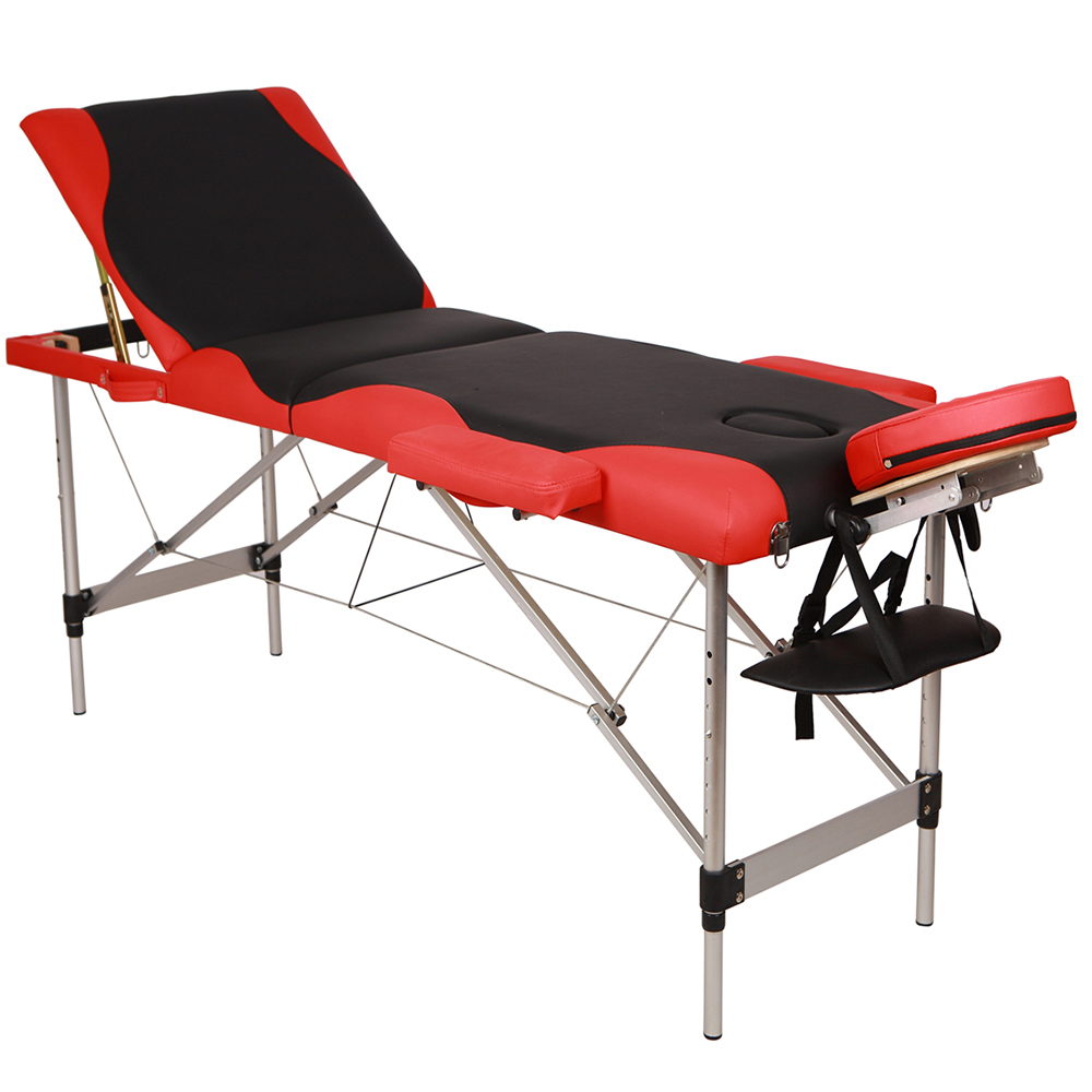 Portable Folding Aluminum Tube SPA Bodybuilding Massage Table Black With Red Edge Adjust Salon Accessories Fast Delivery