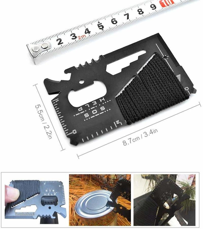 14 In 1 Stainless Steel Credit Card Wallet Multitool Outdoor Pocket Hunting Knife Camping Hiking SOS Survival Emergency Tools