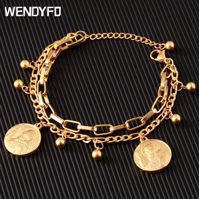 New Arrive Double Stainless Steel Religious Bracelet For Women Female Gold Color Beads Bracelet Jesus Pendant Lady Jewelry Gift(China)