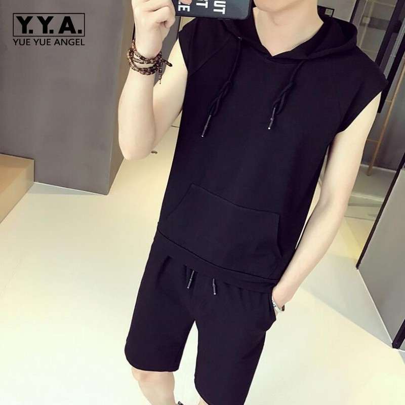 Mans Fashion Clothes Suit Sleeveless Solid Pullover Hooded Packets Casual T-Shirt Shorts For Men Comfortable Half Pants Sets