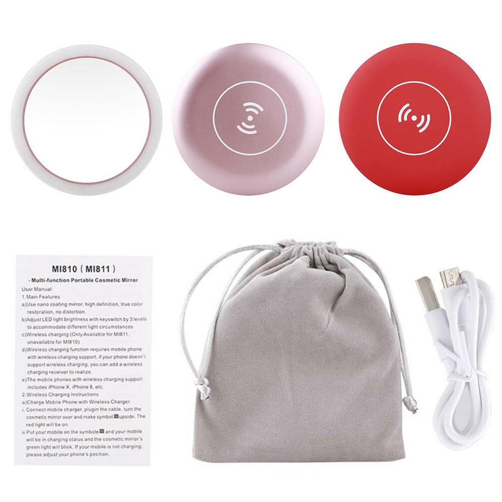 Portable LED Mini Makeup Mirror Circular Multifunctional Compact Travel Sensing Lighting Cosmetic Mirror Wireless USB Charging