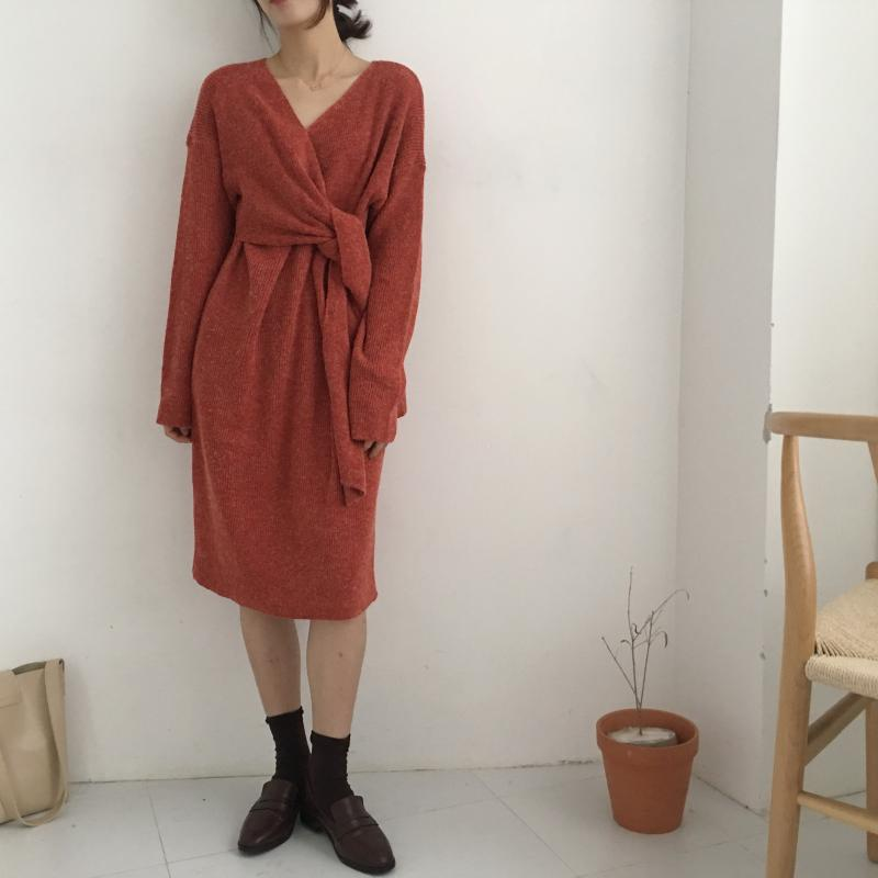 H1b73aec5a8c84d0488f9546fd0544f0cb - Winter Korean V-Neck Long Sleeves Knitted Dress